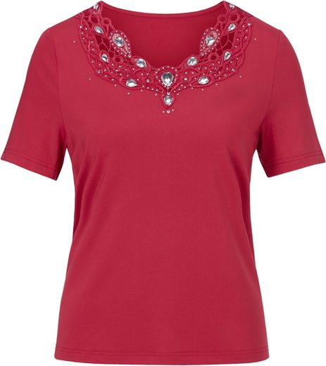 Lady Shirt mit großzügig verziertem Ausschnitt