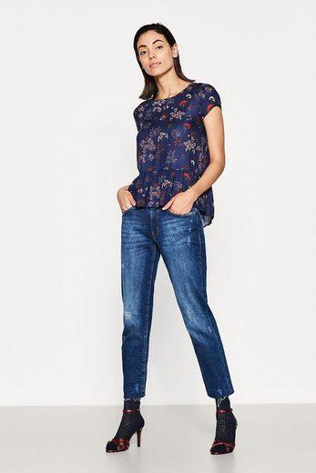 ESPRIT Zarte Print-Bluse mit weitem Schößchen