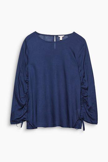 ESPRIT Super-leichte Bluse mit gerafften Ärmeln