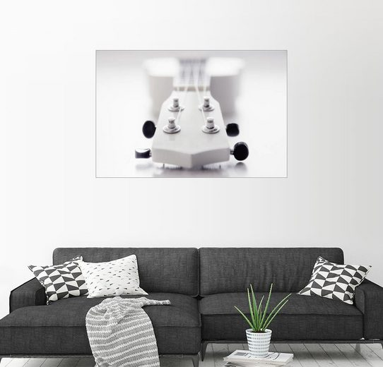 Posterlounge Wandbild - Filtergrafia »Gitarre Ukulele weiß«
