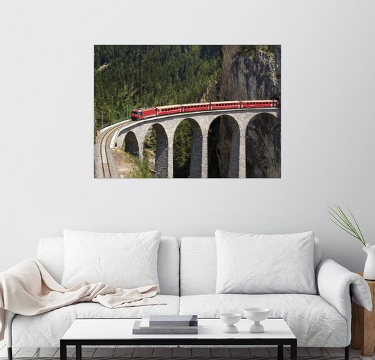 Posterlounge Wandbild - Olaf Protze »Glacier Express, Landwasserviadukt«