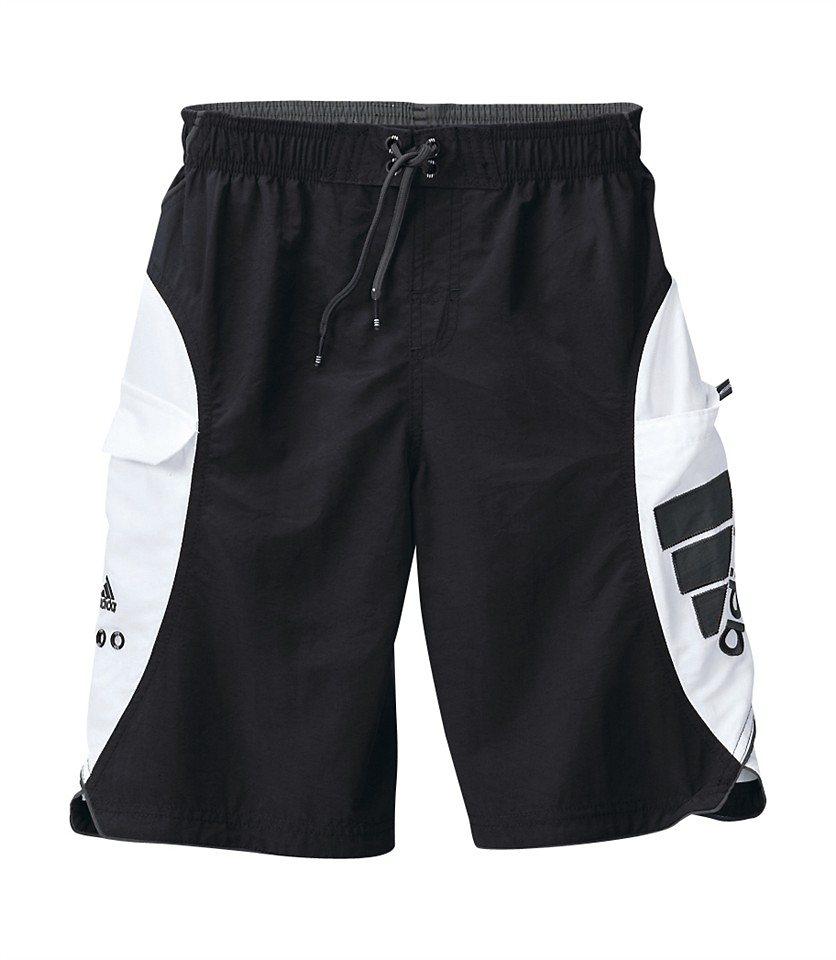 Badeshorts, Adidas in schwarz-grau