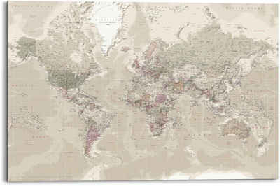 Reinders! Wandbild »Wandbild Weltkarte Natürlicher Farbton - Erdfarben - Detailliert«, Weltkarte (1 Stück)
