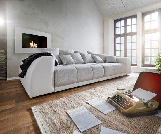 DELIFE Big-Sofa »Violetta«, Creme Hellgrau 310x135 inklusive 12 Kissen XXL Sofa