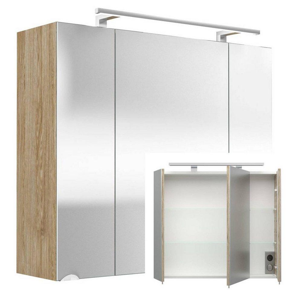 Lomadox Spiegelschrank »RIMAO 20« 20cm Eiche hell mit LED ...