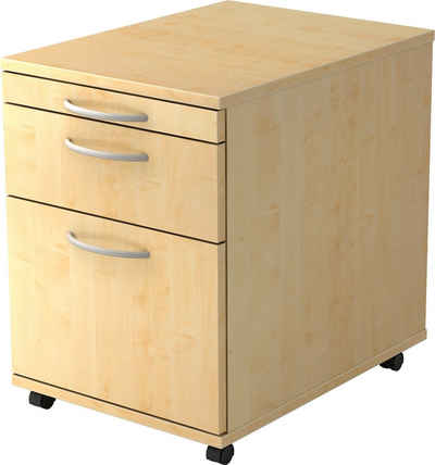 bümö Rollcontainer »OM-1605«, ohne Schloss mit Hängeregistratur - Bürocontainer, Container fürs Büro - Dekor: Ahorn