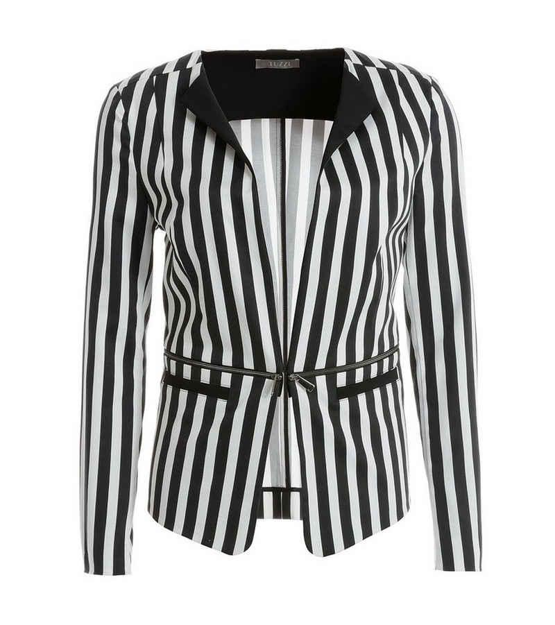 TUZZI Kurzblazer »TUZZI Blazer stilvolle Damen Jacke aus Cotton-Stretch mit Blockstreifen Jackett Schwarz/Weiß«