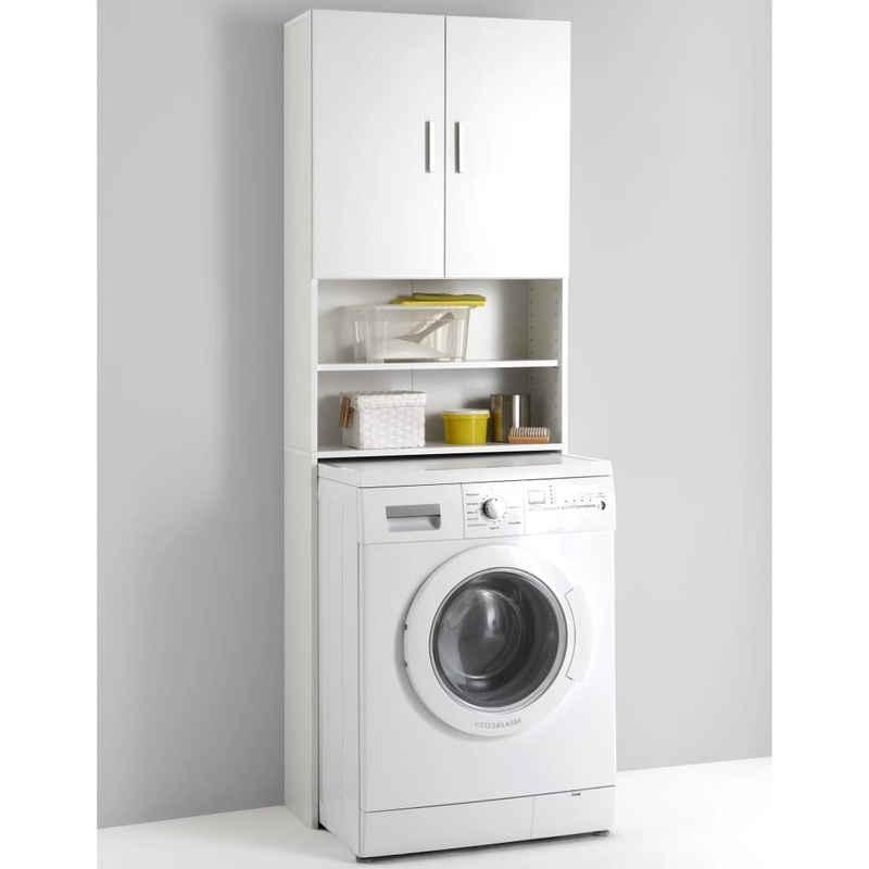 FMD Badezimmerspiegelschrank »FMD Waschmaschinenschrank mit Stauraum Weiß 913-001«