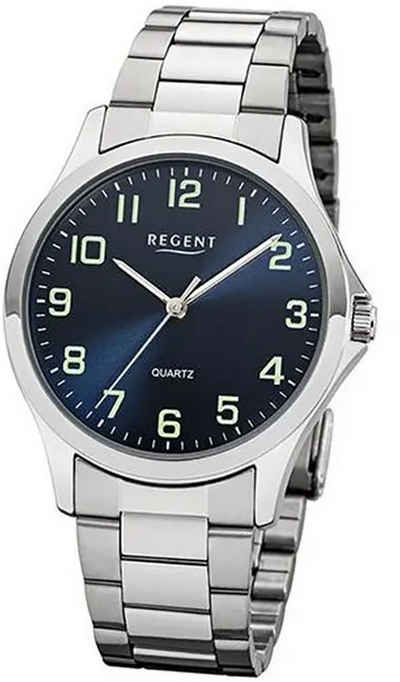 Regent Quarzuhr »UR1152406 Regent Herren Uhr 1152406 Metall Quarz«, (Analoguhr), Herren Armbanduhr rund, Metallarmband silber