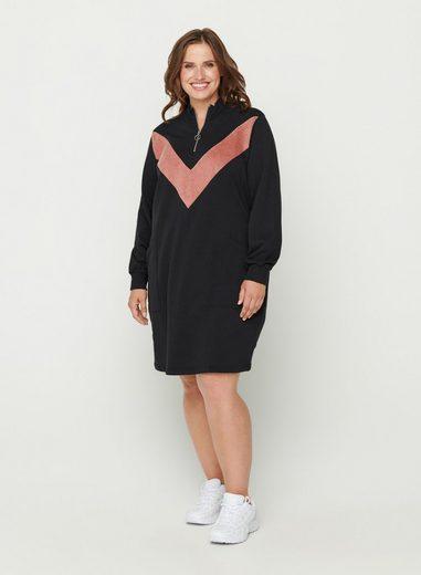 Zizzi Sweatkleid Große Größen Damen Baumwolle Velour Taschen Reißverschluss