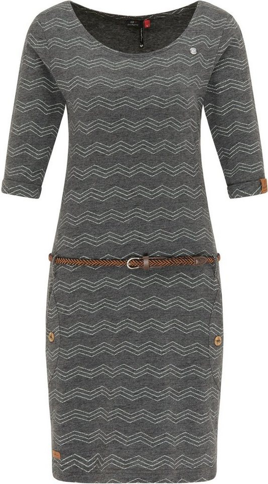 ragwear -  Jerseykleid »TANYA ZIG ZAG« (2-tlg., mit Gürtel in Lederoptik) mit Zig Zag Allover-Print