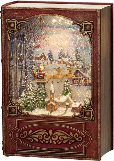 """KONSTSMIDE LED Laterne, LED Wasserlaterne, rot, Buch, """"Weihnachtsmann im Schlitten mit Rentieren über Dorf"""""""