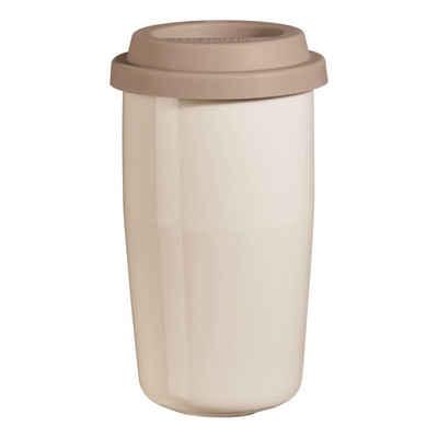 ASA SELECTION Thermobecher »cup & go creme, Deckel braun 350 ml«, Porzellan
