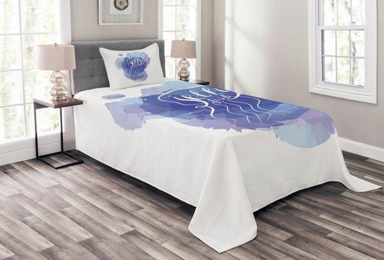 Tagesdecke »Set mit Kissenbezügen Waschbar«, Abakuhaus, Qualle Abstrakt Farbe Splash