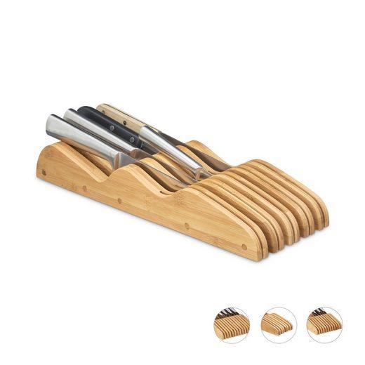 relaxdays Messerblock »Messerblock Bambus für Schublade«