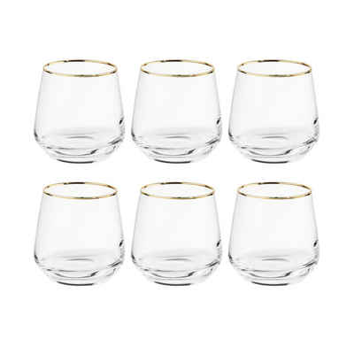 BUTLERS Glas »TOUCH OF GOLD 6x Glas mit Goldrand 345ml«, Glas