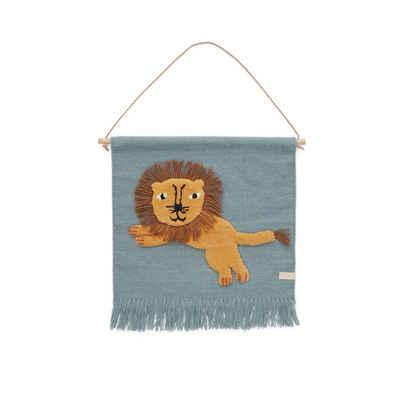 Wandteppich »Jumping Lion«, OYOY, Wandaufhänger, Wandbehang, Wanddekoration, Kinderzimmer, Skandinavisch
