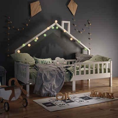 VitaliSpa® Hausbett »Kinderbett Spielbett Noemi 90x200cm weiß Rausfallschutz«