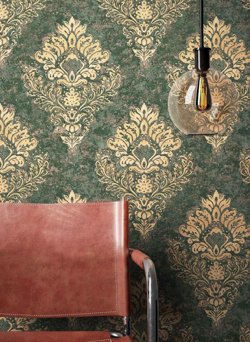 Newroom Vliestapete, Grün Tapete Barock Ornament - Barocktapete Beige Gold Glamour Modern Prunk für Wohnzimmer Schlafzimmer Küche