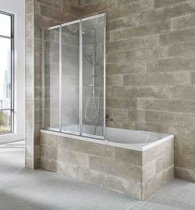 welltime Badewannenaufsatz »Nassau«, Einscheibensicherheitsglas, (3 tlg), silber