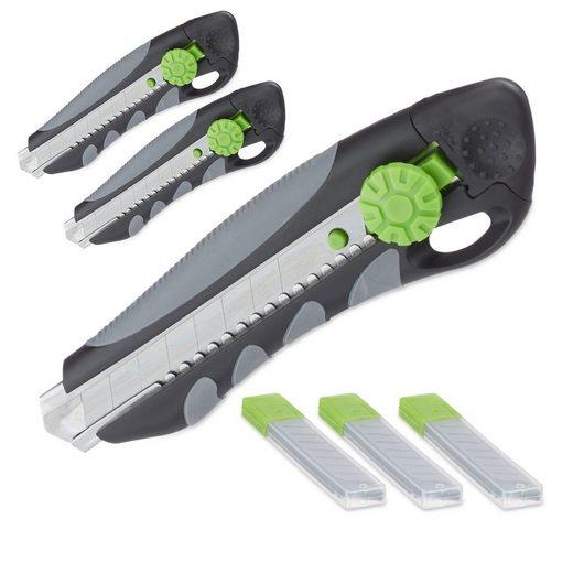 relaxdays Teppichmesser »3x PROFI Cuttermesser mit Ersatzklingen«