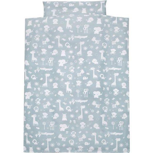 Bettwäsche »Kinderbettwäsche Zootiere, Baumwolle, blau, 100 x«, Alvi®