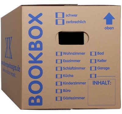 KK Verpackungen Aufbewahrungsbox (Spar-Set, 5 Stück, 5er-Set), Profi Bücherkartons Bücherkarton Umzugskiste 2-wellig 40kg Braun