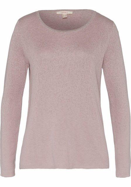 Damen Esprit Rundhalspullover mit Glitzereffekt rosa | 04059602578864