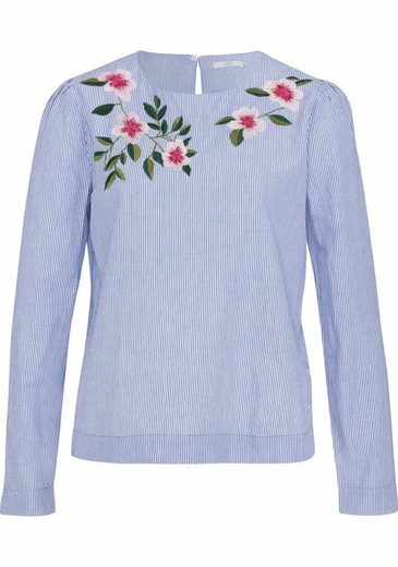 Edc By Esprit Slip Blouse, Floral Embroidery And Button Closure Back