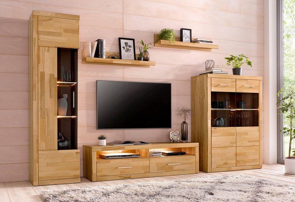 wohnwand 5 tlg mit 2 vitrinen online kaufen otto. Black Bedroom Furniture Sets. Home Design Ideas