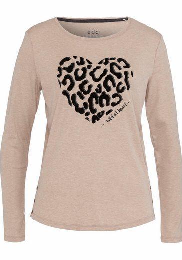 EDC by Esprit Print-Shirt, mit Print in Herzform mit Schriftzug