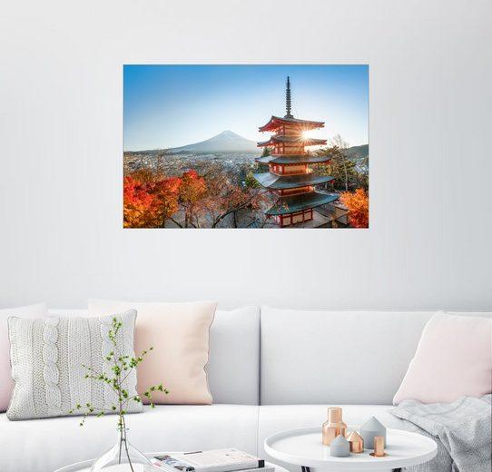 Posterlounge Wandbild - Jan Christopher Becke »Chureito Pagode im Herbst mit Berg Fuji«