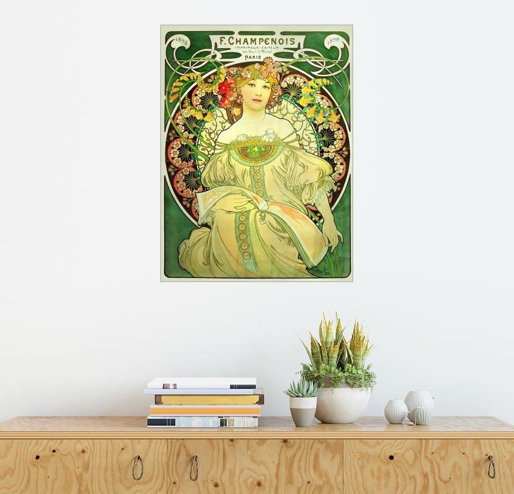 Posterlounge Wandbild - Alfons Mucha »Obraz grün« | Dekoration > Bilder und Rahmen > Bilder | Holz | Posterlounge