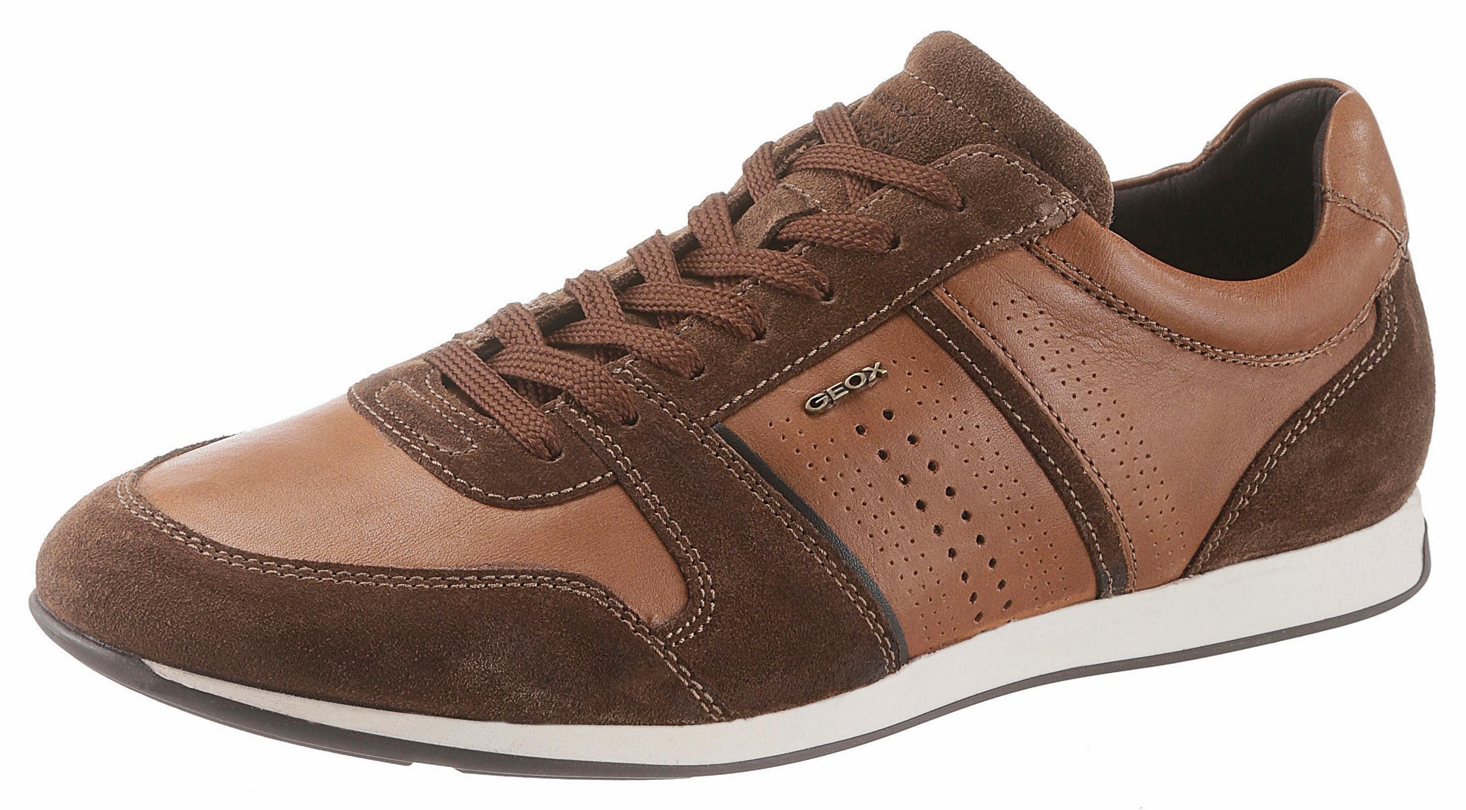 Geox Clemet Sneaker, im modischen Ledermix  braun-dunkelbraun