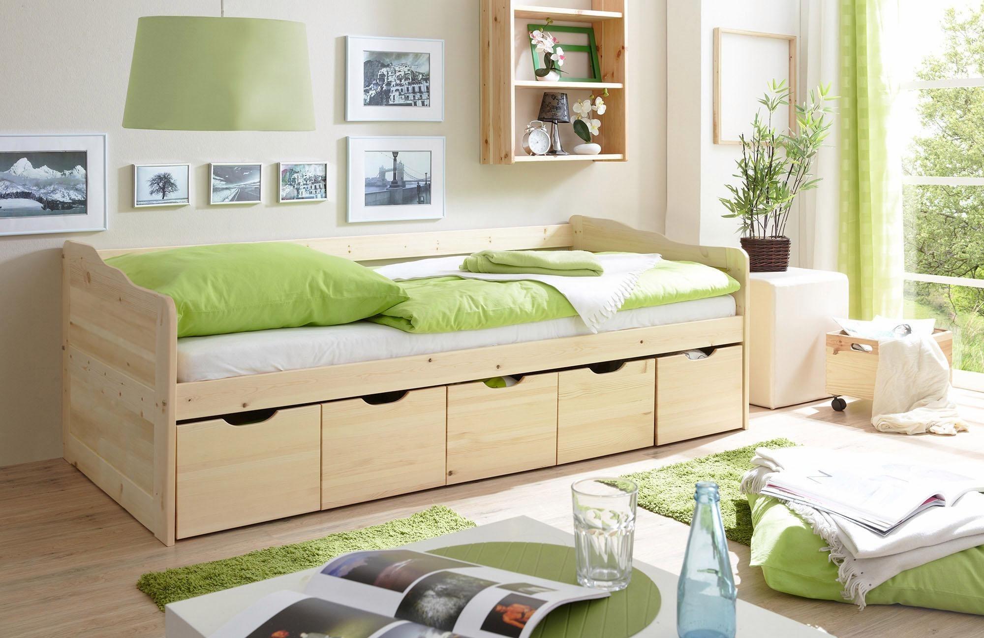 Ticaa Funktionsbett »Maria« mit 5 Schubkästen, Kiefer | Schlafzimmer > Betten > Funktionsbetten | Massiver - Kiefer | Ticaa