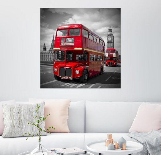 Posterlounge Wandbild - Melanie Viola »LONDON Rote Busse«