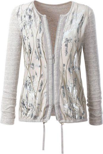 Création L Shirtjacke mit silberfarbigem Foliendruck