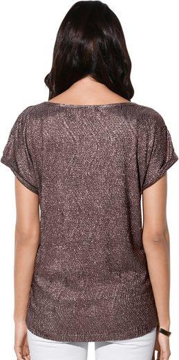 Création L Shirt mit Folienprint in edel schimmerndem Goldrosé-Ton