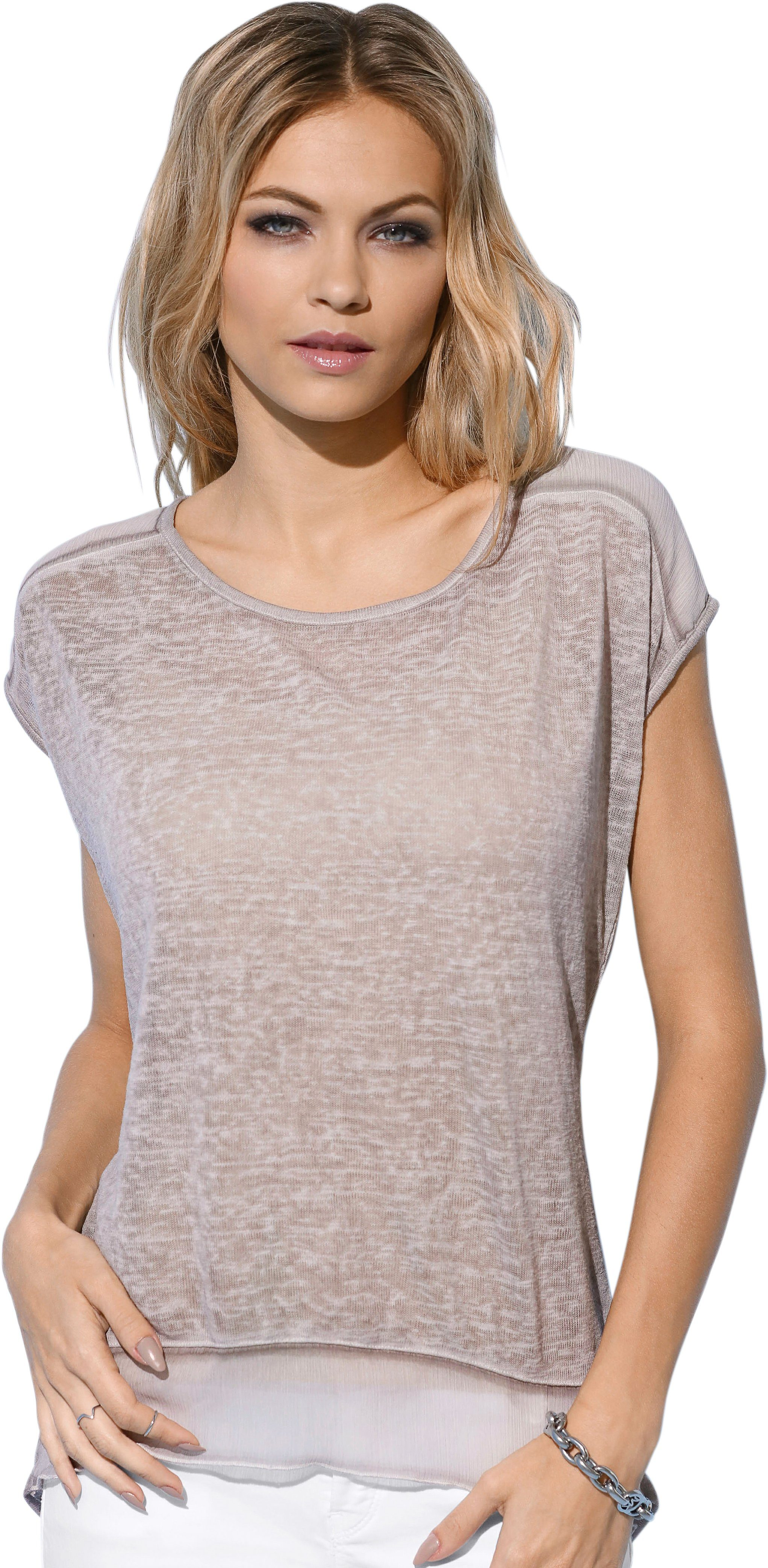 Création L Shirt im luftig-leichten Material-Mix
