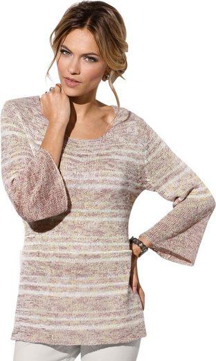 Création L Pullover mit eleganten Melange-Streifen