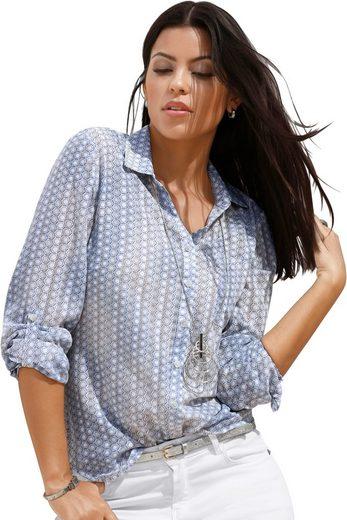 Création L Bluse in teils transparenter Ausbrenner-Qualität