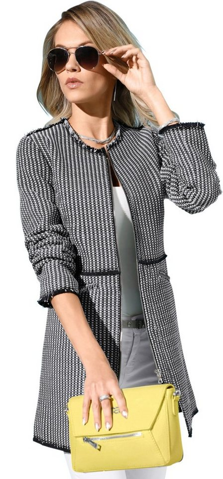 Création L Longblazer mit Fransenkante an Schulter   Bekleidung > Blazer > Longblazer   Schwarz   Creation L