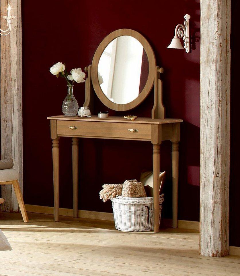 home affaire schminktisch irena aus massivholz mit spiegel und einer schublade online kaufen