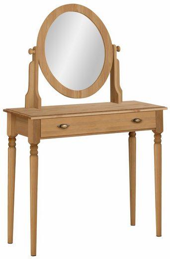 Home affaire Schminktisch »Irena«, aus Massivholz, mit Spiegel und einer Schublade