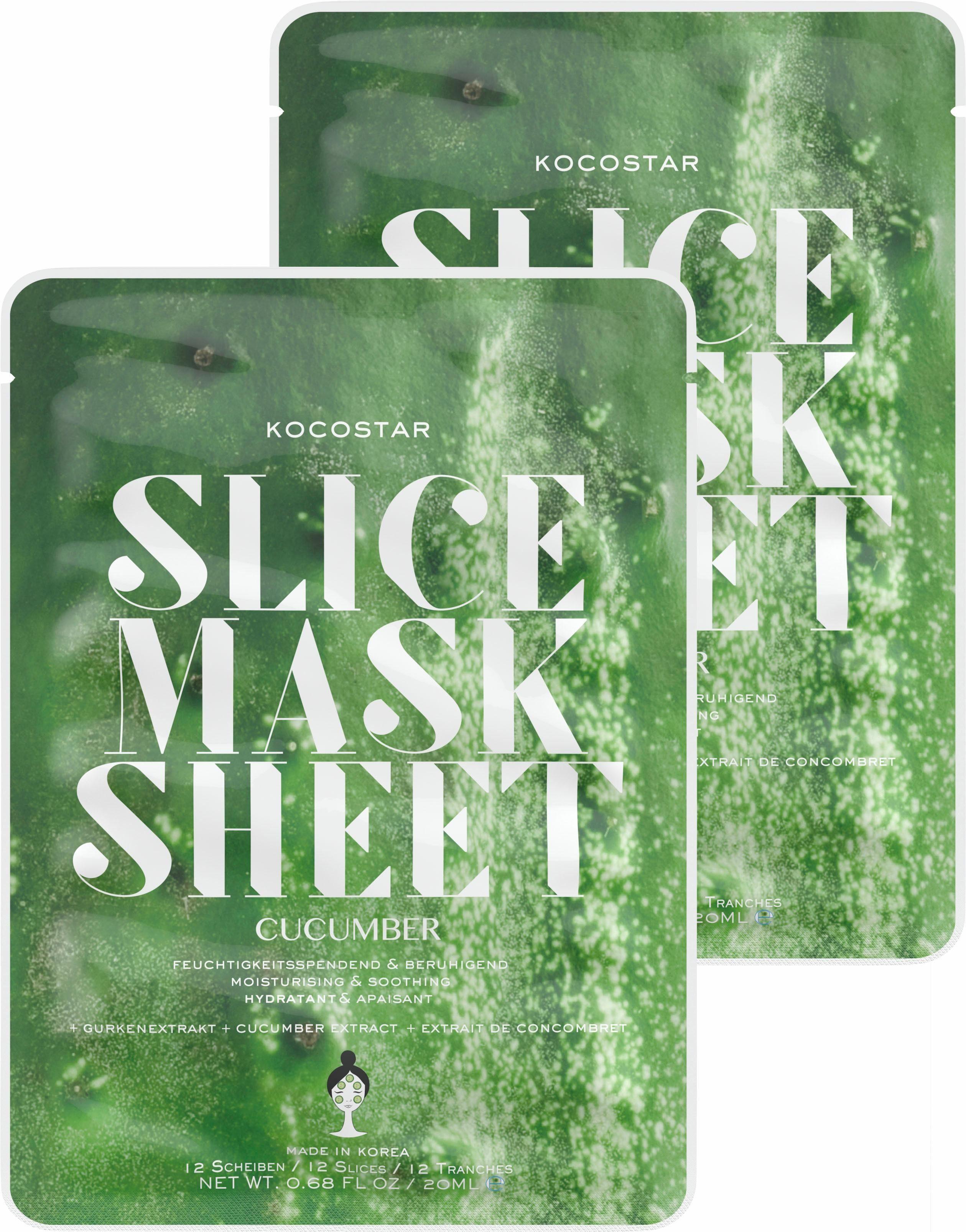 Kocostar, »Slice Mask Sheet Cucumber«, feuchtigkeitsspende und beruhigende Gesichtsmaske (2-tlg.)