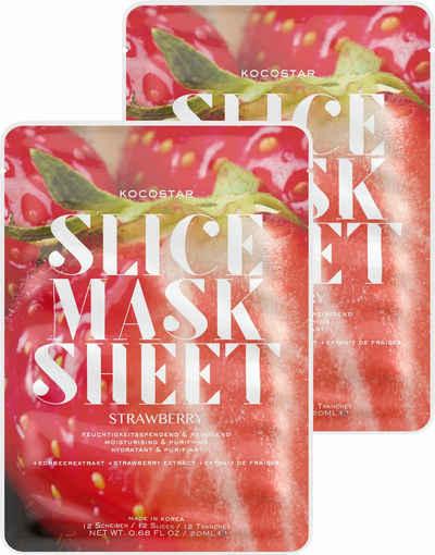 KOCOSTAR Gesichtsmasken-Set »Slice Mask Sheet Strawberry« Set, 2-tlg., feuchtigkeitsspendend und reinigend