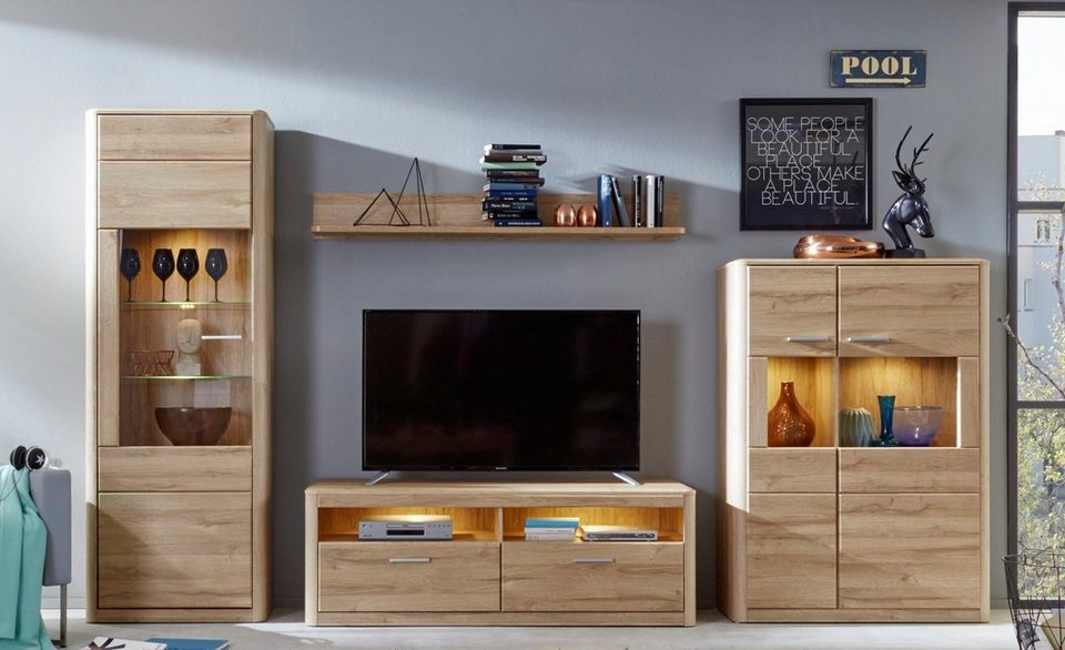wohnwand siero 4 tlg mit abgerundeten ecken otto. Black Bedroom Furniture Sets. Home Design Ideas