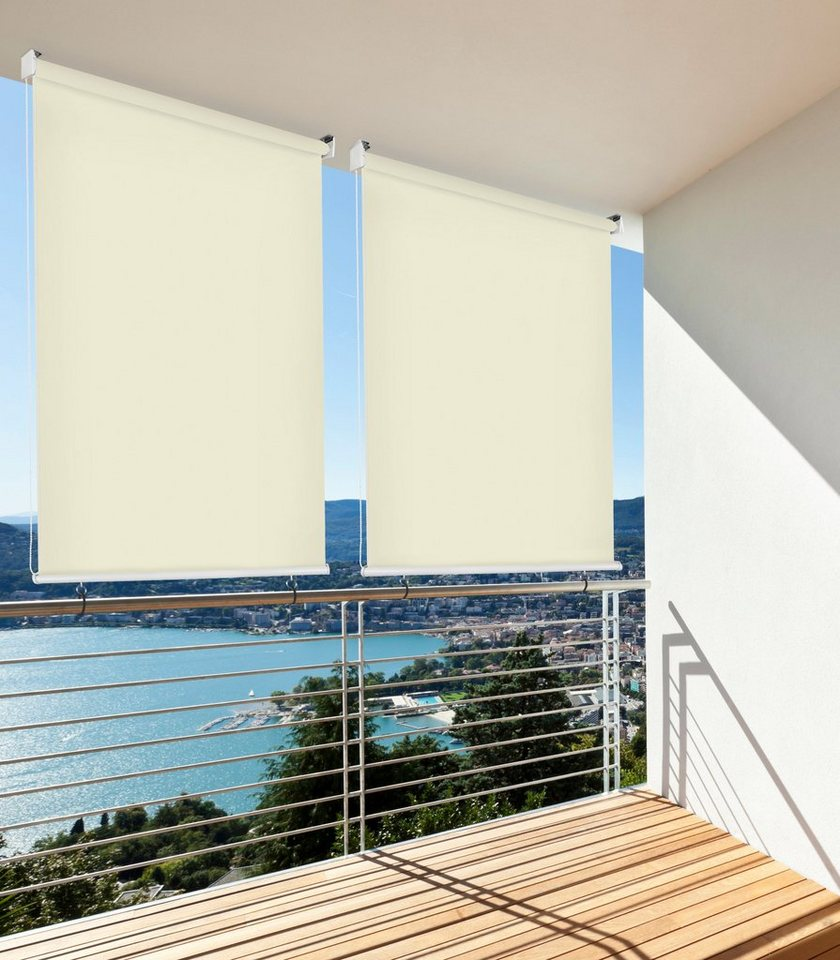 hecht balkonsichtschutz rollo beige lxb 140x140 cm
