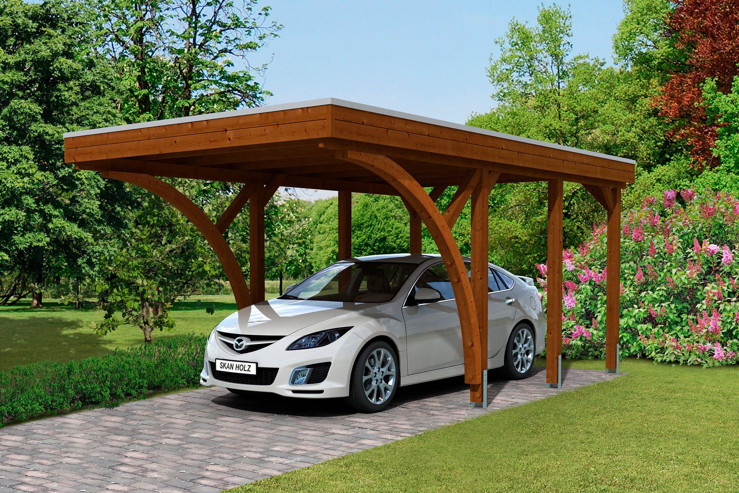 SKANHOLZ Set: Einzelcarport »Friesland 6«, BxT: 314x555 cm, nussbaum
