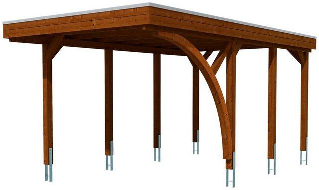 SKANHOLZ Set: Einzelcarport »Friesland 5«, nussbaum, BxT: 314x555 cm | Baumarkt > Garagen und Carports > Carports | Farbig | Aluminium | Skanholz
